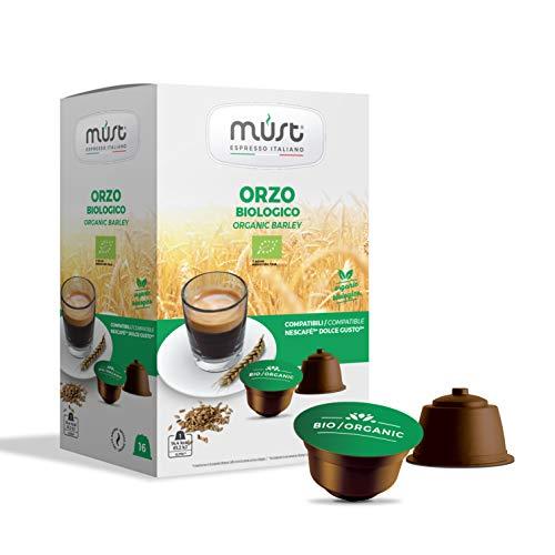 MUST 96 Capsule Caffè di ORZO BIO Autoprotette in Plastica 100% Riciclabile miscela Biologico pack da 16 Capsule in 6 confezioni compatibili con macchina / macchinetta Dolce Gusto Cialde Made in Italy