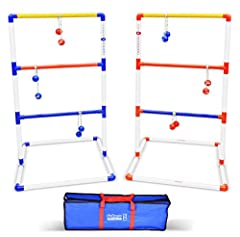 1 SELLING LADDER TOSS ON AMAZON; Top Quality, Price & Customer Service for Family Fun FULL SET: Includes 2 Premium PVC Targets with Score Trackers, 6 Golf Ball Bolos (3 Red + 3 Blue), Carrying Case and Rules FASTEST ASSEMBLY: PVC Targets are Pre Glue...