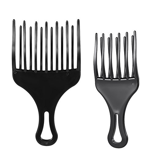 Anself 2ST Pelo Peine Pick Peine Afro, Plástico High & Low Gear para Hombre y Mujer