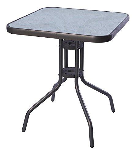 Mojawo® Bistrotisch Glas/Metall 60x60cm Antrhrazit/Dunkelgrau eckig Balkontisch Gartentisch Glastisch