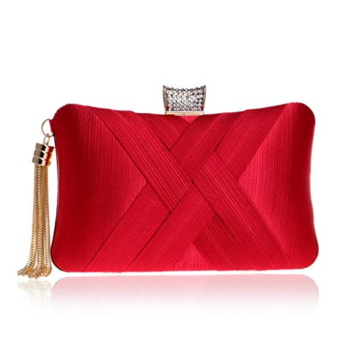 Bolsa de ombro feminina elegante com pingente de borla, bolsa de ombro vermelha