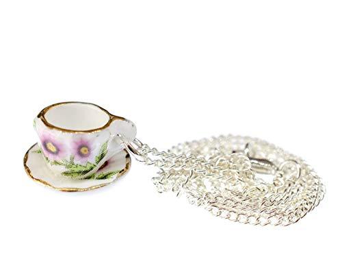 Miniblings Tasse Kette Tee Kaffee 45cm Teetasse Oma Service Porzellan Goldrand - Handmade Modeschmuck - Gliederkette versilbert