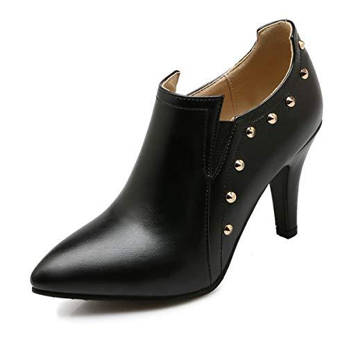 ZYHLL Delle Donne in Pelle Stivaletti Pure Color Fashion Boots Pelle Interno Punta in Pelle per Il Partito di Ufficio o all'aperto Etc,Nero,35EU