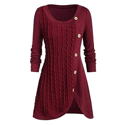 Plus Size 5XL Winter Solid Buttons Tunika-Pullover Frauen Warme Langarm-Strickpullover Pullover Damen Pullover Damen Damen Tops