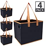 "Urban House AUH-SB4BK Large Collapsible Grocery Shopping Tote Box with Reinforced Bottom, 14""L x 11""W x 11""H (Pack of 4), Black with Brown Trim"