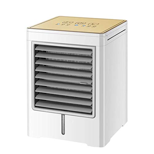 Lmz Touch screen mini luchtkoeler Draagbare desktop usb koude ventilator thuis kleine watergekoelde airconditioning ventilator airconditioner, Champagne Goud