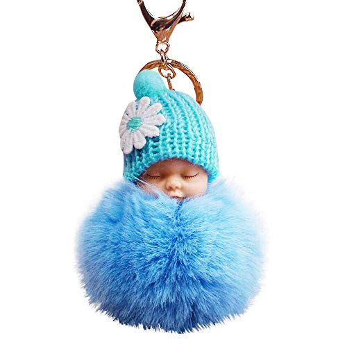 TAOtTAO Cute Fur Fluffy PomPom Sleeping Baby Doll Key Chains Keyrings Bags Charm Pendant (Sky Blue)