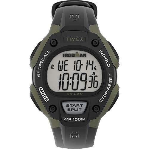 Timex Men's Ironman Classic 30 Full-Size Quartz Running Watch with Resin Strap, Black, 16 (Model: TW5M445009J)
