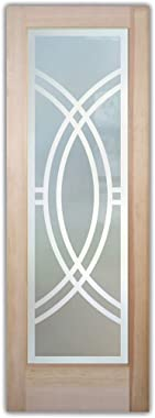 SANS Soucie - / Interior Door - Demi Circle - 1D Private Frosted - Geometric / Primed