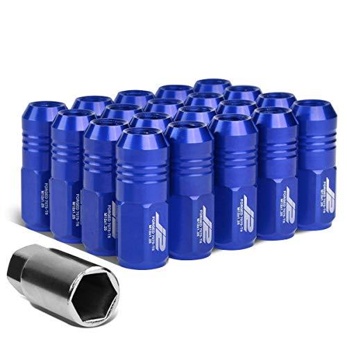 J2 Engineering LN-T7-007-125-BL 20Pcs M12 x 1.25 7075-T6 Aluminum 50mm Close-End Lug Nut w/Socket Adapter Key (Blue)