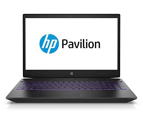 HP Pavilion Gaming 15-cx0008ng 39,6 cm (15,6 Zoll Full HD IPS) Laptop (Intel Core i7-8750H, 16GB DDR4 RAM, 1TB HDD, 256GB SSD, Nvidia GeForce GTX 1050Ti 4GB, Windows 10 Home) schwarz / violet