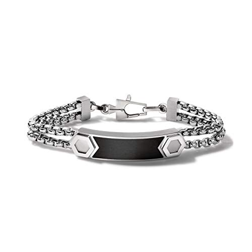 Bulova Mens Precisionist Large Stainless Steel Double-Chain Link ID Bracelet with Matte Black Epoxy Inlay ID Plaque (Model J96B005L), Silver-Tone