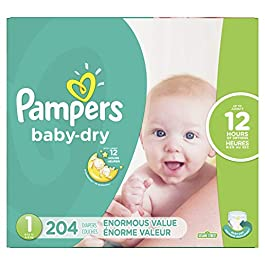 Diapers Size 1, 204 Count – Pampers Baby Dry Disposable Baby Diapers, Enormous Pack (Packaging May Vary)