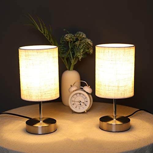 Lightsjoy 2 Pack Touch Dimmable Bedside Table Lamp 3 Level Brightness Table Light Bedroom Round Nightstand Table Lamp for Living Room Office Hotel Cafe Restaurant (Include 2 Warm White E14 Bulbs)