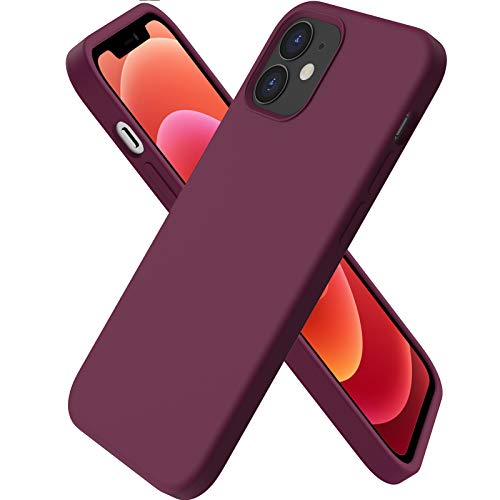 ORNARTO Funda Silicone Case Compatible con iPhone 12 Mini, Protección de Cuerpo Completo,Carcasa de Silicona Líquida Suave Antichoque Case para iPhone 12 Mini (2020) 5,4 Pulgadas Vino Rojo