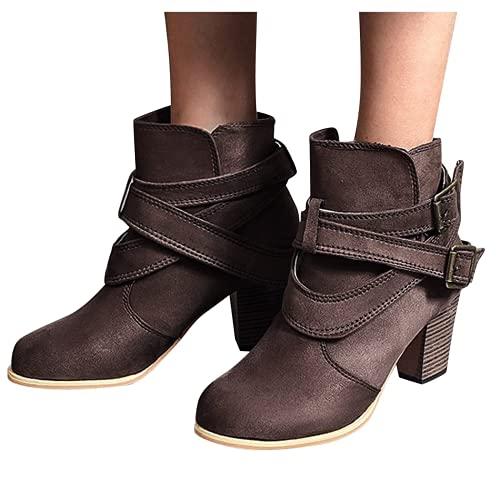Bcshiye Botas occidentales de mujer con hebilla de combate y tacón grueso, botas de fiesta para mujer