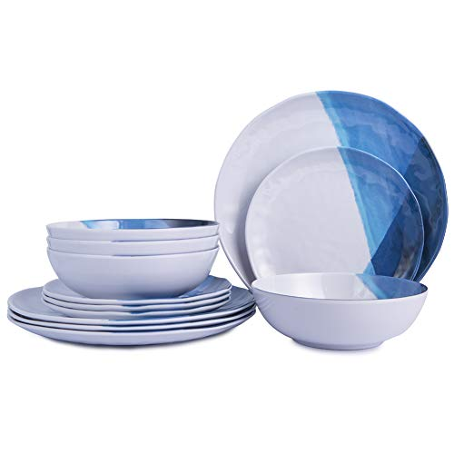 Melamine Plates and Bowls Set - 12pcs Dinnerware Dishes Set for 4, Dinner Plates for Indoor and Outdoor Use, Break-resistant, Blue & White