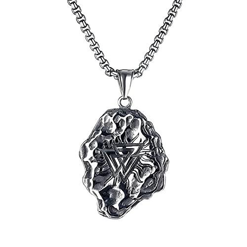 AMOZ Collar nórdico, para hombre, estilo celta, de acero inoxidable, con colgante de amuleto vikingo, símbolo de odín, estilo escandinavo, auténtico, joyería clásica, B, 55 cm