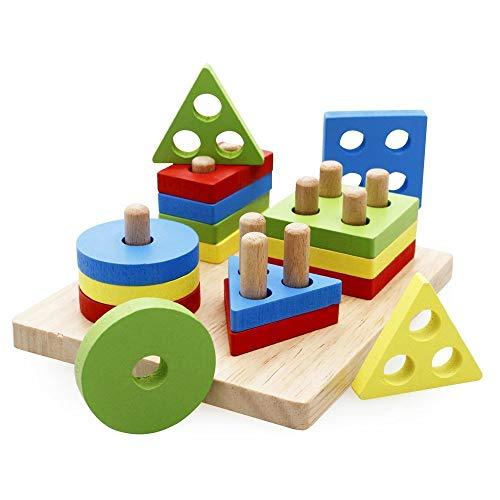 Lewo Formes À Trier et À Empiler Jeu de Tri Puzzle en Bois Jouets Éducatif Formes Bloc Géométriques Couleurs et Formes pour Les Enfants