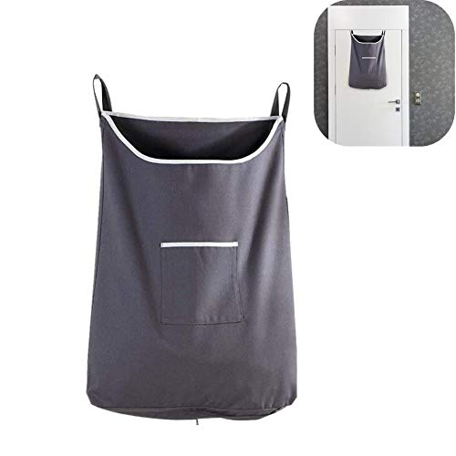 Bolsa de almacenamiento de boca cuadrada, bolsa de cesto de ropa colgante, bolsa de ropa sucia de gran capacidad para colgar puertas de ahorro de espacio con ganchos de acero inoxidable