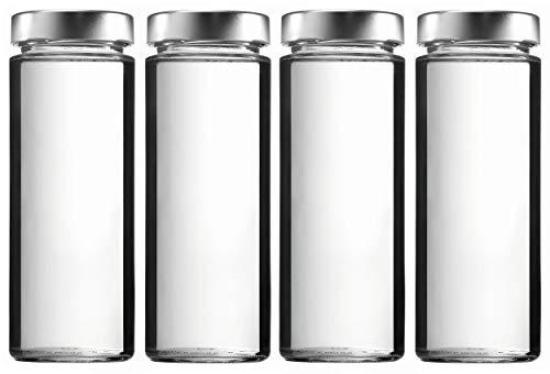mikken 4 x Einmachglas 1 Liter, Glasflasche Vorratsglas mit Schraubverschluss PVC frei inkl. Beschriftungsetiketten