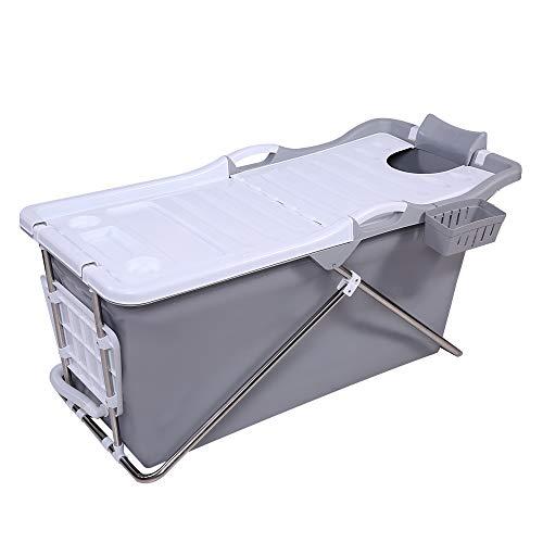 Schwänlein® mobile badewanne Faltbare Badewanne 128cm mit Seifenkorb, Nackkissen, Hocker. Praktisch und Tragbar (Grau)