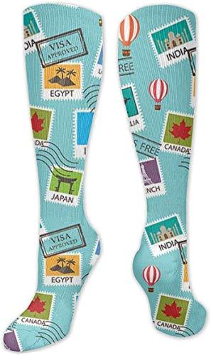 Calcetines de compresión para mujer y hombre, ideales para correr, viajes, ciclismo, moda