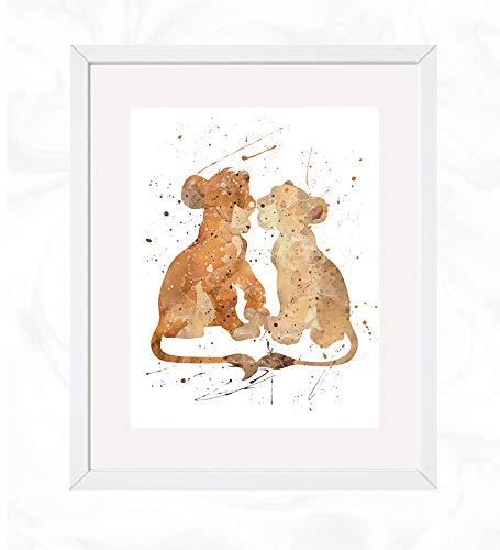 Simba and Nala Prints, The Lion King Disney Watercolor, Nursery Wall Poster, Holiday Gift, Kids and Children Artworks, Digital Illustration Art