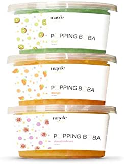 Mayde Bursting Popping Boba Pearls, Kiwi, Mango, Passion Fruit - 3 Flavor Tropical Fruits Party Kit (490 gms, 3 pack)