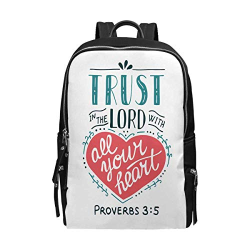 Christian Bible Verse Proverb Trust in The Lord Book Bag Backpack
