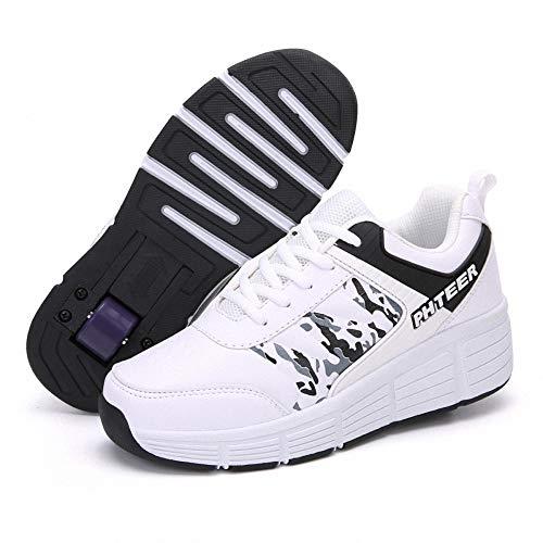 Miarui Zapatos con Ruedas para niños Zapatos de Ruedas Roller Skates Zapatillas de Skate con Ruedas Zapatos con Ruedas Automática Calzado de Skateboarding con Automática Ruedas Ajustables,Blanco,39