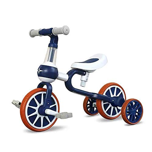 DRAGDS Pastillas de Bebé Cochecitos Livianos para Bebés Multifuncionales para Niños Triciclo Bicicletas de Equilibrio Durante 2-4 Años, Tripo de Niños Ajustable,Azul