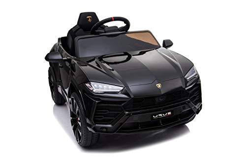 ES-TOYS Elektro Kinderauto Urus - lizenziert - 12V Akku, 2 Motoren- 2,4Ghz Fernsteuerung, MP3, Ledersitz+Eva+lackiert (Schwarz)