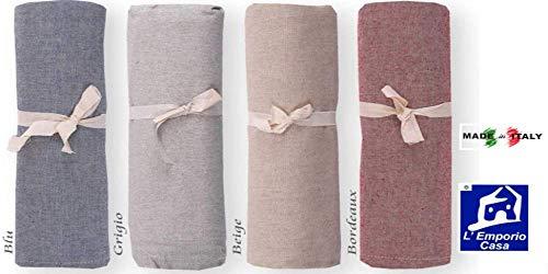 L'EMPORIO Casa - Funda de sofá de color liso, tela gruesa de Panamá, 180 x 260 - 260 x 280 - 360 x 280 cm. Medidas Maxi sábana bajera de algodón Granfoulard cubrecama, fabricada en Italia