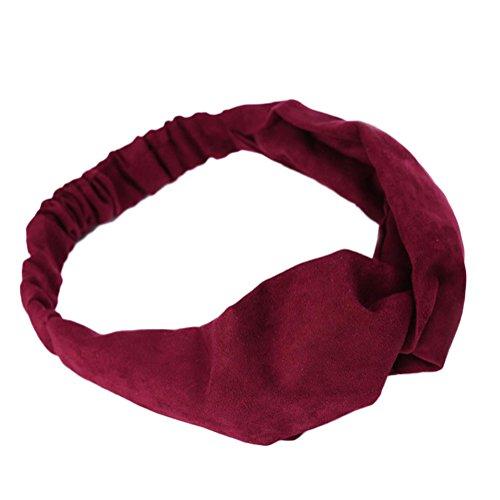 Chytaii Serre Tête Maquillage Bandeau Bande Cheveux Elastique Toilette Yoga Spa Hair Hoop Multicolore Accessoires Décoratifs de Cheveux pour Femme (rouge foncé)
