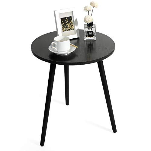 Haton Side Table, Round White Modern Home Decor Coffee Tea End Table for Living Room, Bedroom and...