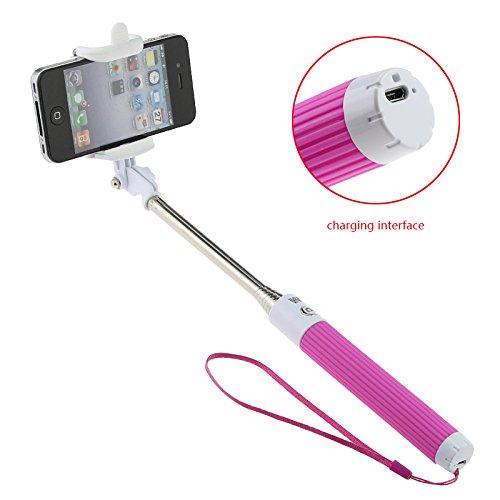 SunSmart Wireless All-in-one del telefono mobile della macchina fotografica Autoritratto monopiede allungabile Selfie Stick con controller integrato Bluetooth scatto remoto e supporto per telefono regolabile cellulare dispositivo / Compresse fisso Supporto per iPhone 6, iPhone 6 Plus 5s 5c 5 4s 4, Samsung, nota 10.1 8 3 2, Sony Xperia E1 M2 Z1 Z2 Z3 (rosa)