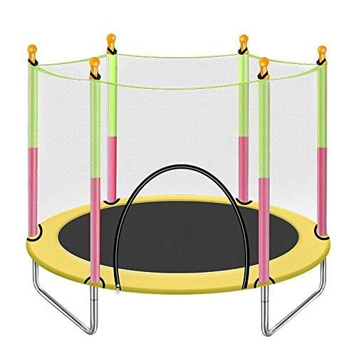 XLYAN Trampolines para Niños En El Patio Al Aire Libre En Interiores, Trampolín para Niños De 3 a 12 Años con Cerramiento,Yellow
