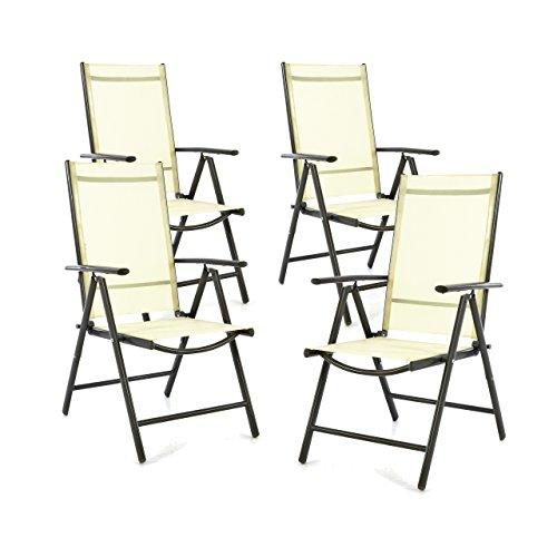 SONLEX 4er Set Klappstuhl Klappsessel Gartenstuhl Campingstuhl Liegestuhl – Sitzmöbel – klappbarer Stuhl aus Aluminium & Kunststoff - Creme (Textilene) / anthrazit (Rahmen)