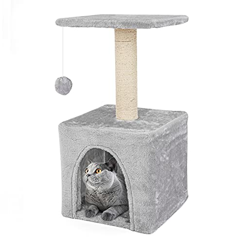 Teodty Cat Tree, Cat Tower for Indoor Cats, Multi-Level Cat House Condo, Scratching Posts, Cat Climbing Stand with Toy for Medium Small Kittens Play...