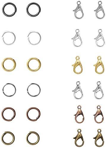 900 anillos abiertos, 120 cierres de langosta para hacer joyas, accesorios de reparación y proyectos de manualidades, 6 colores con caja de plástico (5 mm, 12 mm)