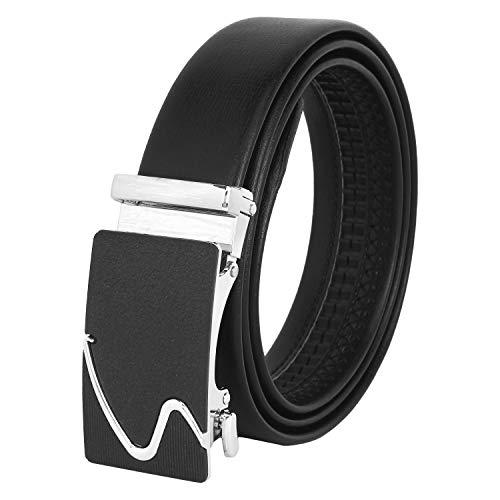 Zacharias Men's Faux Leather Belt Autolock Buckle AB-S (Black, Free Size)