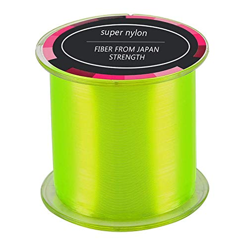 REYOK Blade Nylon Linea de Pesca,Material Monofilo Linea de Pesca de 500 m,de Mar Fuerte Accesorios Monofilamento Carpa Linea de Pesca Sedal(Amarillo Fluorescente)