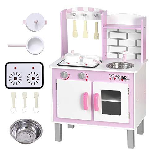 HOMCOM Cocinita de Juguete para Niños con Función de Sonido Armario Ganchos 5 Accesorios Incluidos Cocina Infantil Educativo +3 Años Madera 55x30x80 cm Rosa