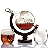 Whiskey Globe Decanter Set Etched World Globe Decanter for Liquor, Bourbon, Vodka with 2 Glasses in...