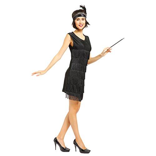 Anladia 20er Jahre Fransen Charleston Kleid Damen Kostüm Flapperkleid Tanzclub Bälle Party Abendkleid, M, Schwarz