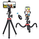 3in1 Smartphone Mobile Cell Phone Selfie Tripod Portable Flexible Mini Travel Camcorder Tabletop Stand Mount Holder for iPhone Samsung Webcam Youtuber Reivewer Vlogging Live Streaming Podcast