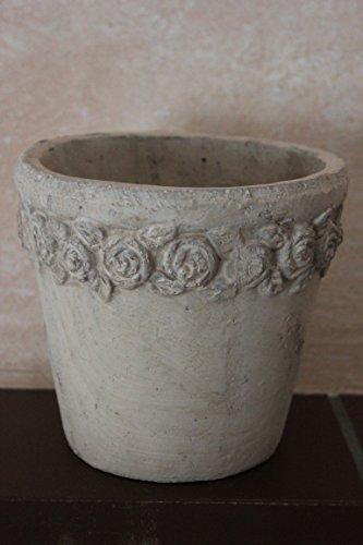 VOSS Pflanztopf rund mit Rosenrand aus KeramikH 15 cm, Außendurchm. 16 cm, Übertopf