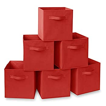 Casafield Set of 6 Collapsible Fabric Cube Storage Bins Red - 11  Foldable Cloth Baskets for Shelves Cubby Organizers & More