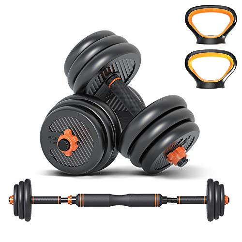 Wind Greeting 6 in 1 Dumbbell &Kettlebell & Barbell Set,25kg Adjustable Dumbells Weights Set, Four Fitness Modes Perfect for Home Gym Exercise and Strength Training
